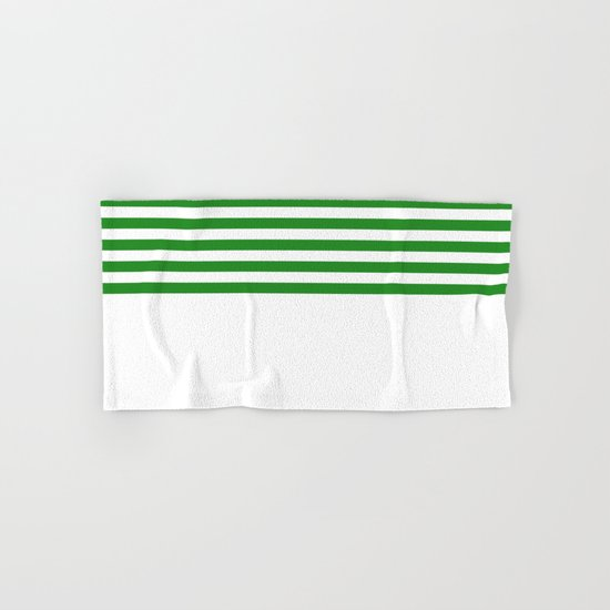 Horizontal Stripes (Forest Green/White) Hand & Bath Towel