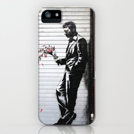 Banksy, Man with flowers iPhone Case