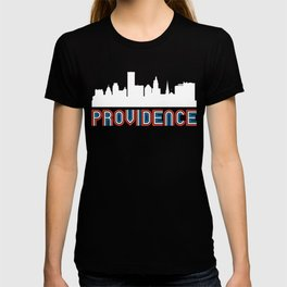 Red White Blue Providence Rhode Island Skyline T-shirt