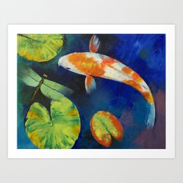 Kohaku Koi and Dragonfly Art Print