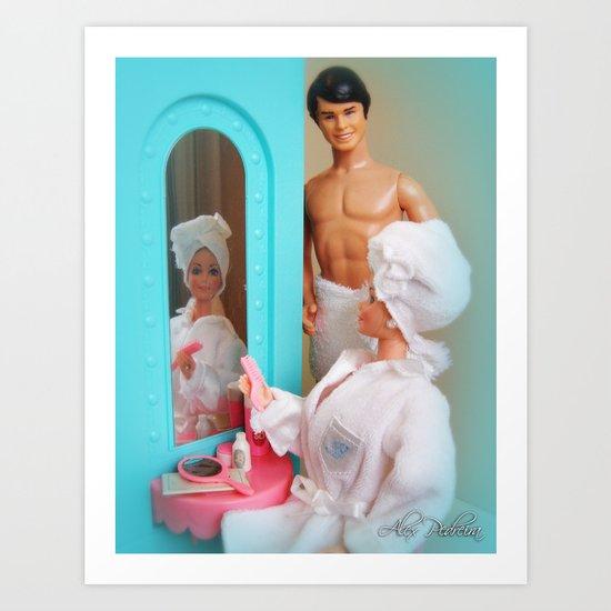 barbie and ken in the bathroom art print