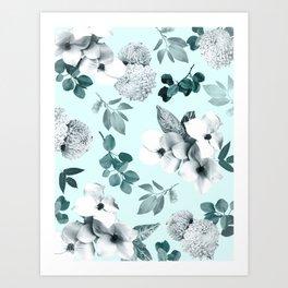 Night bloom - moonlit mint Art Print