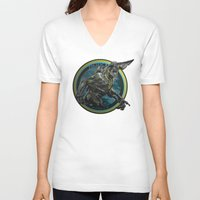 pacific rim V-neck T-shirts featuring Knifehead - Pacific Rim by Leamartes
