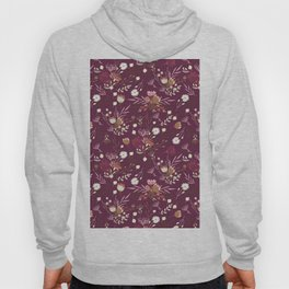 Burgundy white blush pink hand painted floral Hoody