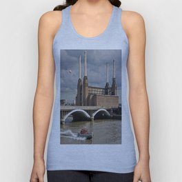 Battersea Power Station with Pink Floyd Pig Unisex Tank Top