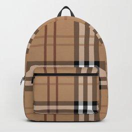 Classic Vintage Brown Check  Tartan Backpack