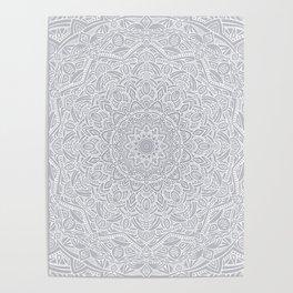 Most Detailed Mandala! Cool Gray White Color Intricate Detail Ethnic Mandalas Zentangle Maze Pattern Poster