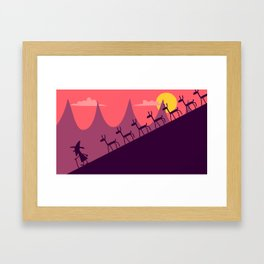 THE GOAT HERDER AND HIS LOTS AND LOTS AND LOTS OF GOATS - DOWN THE MOUNTAIN Framed Art Print