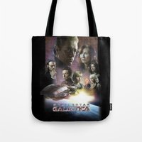 battlestar galactica Tote Bags featuring BATTLESTAR GALACTICA POSTER by tanman1