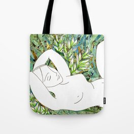 Nude with Green Flowers Tote Bag