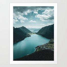 Mountain Lake Digital Print, Drone Photography, Printable Wall Art, Austria Mountains, European Alps Art Print