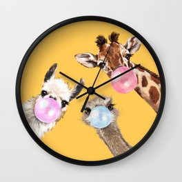 Bubble Gum Gang in Yellow Wall Clock