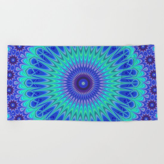 Blue mandala Beach Towel