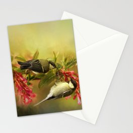 Great Tits on Flowers Stationery Cards