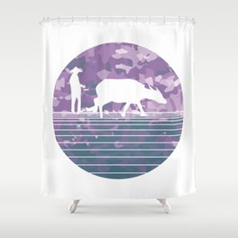 Farmer and Water Buffalo Vietnamese Village Shower Curtain