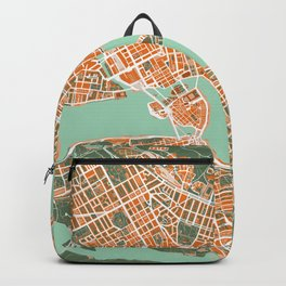 Stockholm city map orange Backpack