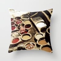 fez Throw Pillows featuring Tanneries Fez, Morocco by ZenzPhotography
