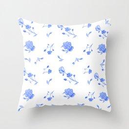 Charleston Floral Sky Blue Throw Pillow