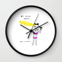 miley cyrus Wall Clocks featuring MILEY CYRUS by WASTED RITA