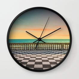 Mascagni Terrazza terrace at sunset. Livorno Tuscany Italy Wall Clock