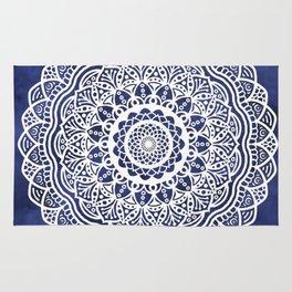 Deep Ocean Blue Mandala - LaurensColour Rug