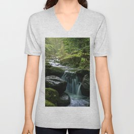 Flowing Creek, Green Mossy Rocks, Forest Nature Photography Unisex V-Neck