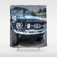 ford Shower Curtains featuring 1967 Ford Mustang by VHS Photography