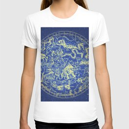Yellow on Blue Infinity Vintage Astrology Star Map T-shirt