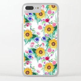 Sunflower, anemone, dahlia, rose and beauty berry watercolor floral Clear iPhone Case