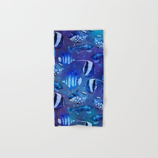 Watercolor fish pattern dark blue Hand & Bath Towel