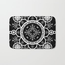Scarab tile line pattern with black Background Bath Mat