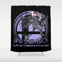 super smash bros Shower Curtains featuring Bayonetta - Super Smash Bros. by Donkey Inferno