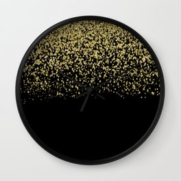 Sparkling gold glitter confetti on black background- Luxury pattern Wall Clock