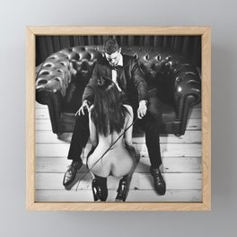 Beautiful man in bdsm play with his nude woman Framed Mini Art Print