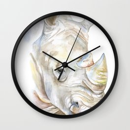 Rhino Watercolor Wall Clock