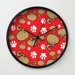 Dumpling Cat Red pattern Wall Clock