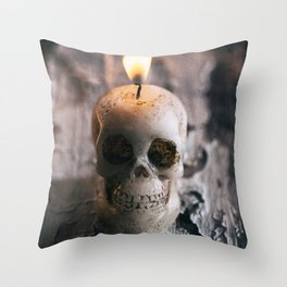 Halloween: Lit Skull Candle On Weathered Wood Table Throw Pillow