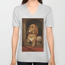 bloodhound and a terrier 1800's oil painting. Unisex V-Neck