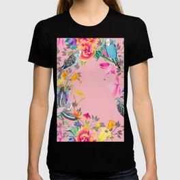 Stardust Pink Floral Birds Motif T-shirt