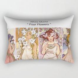"""Alfons Mucha, """" four flowers """" Rectangular Pillow"""