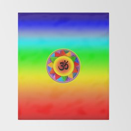 Ohm with Chakra Colours Throw Blanket