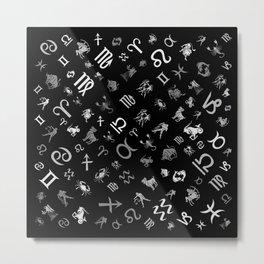 Zodiac symbols and glyphs grayscale Metal Print