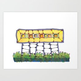 Funky yellow architectural design 51 Art Print