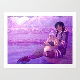 Christmas Card - Seal Mermaids Art Print