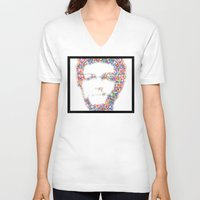 confetti V-neck T-shirts featuring Confetti Head by StuartWallaceArt