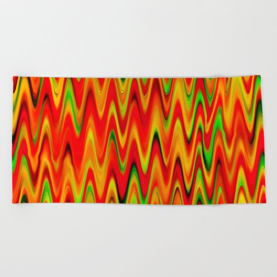 WAVY #1 (Reds, Oranges, Yellows & Greens) Beach Towel