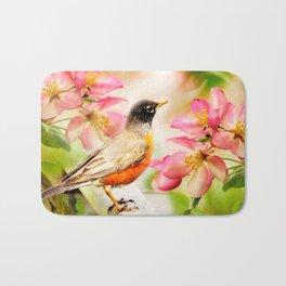 Spring Song. American Robin in spring cherry blossom. Bath Mat