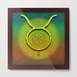 TAURUS Flower of Life Astrology Design Metal Print