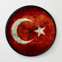 National flag of Turkey, Distressed worn version Wall Clock