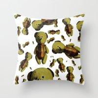 teddy bear Throw Pillows featuring Teddy-bear by Кaterina Кalinich